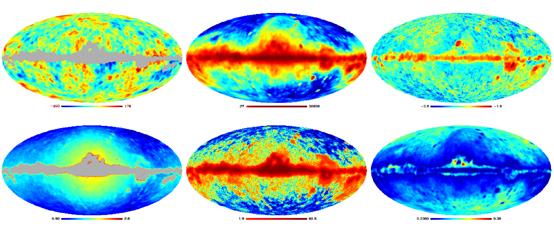 Component-separated maps output from Commander (from Dickinson et al. 2009)